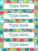 Editable Word Cards for Dots on Turquoise Lovers