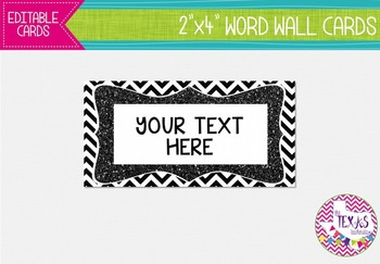 Word Wall Cards - Black and White Chevron {EDITABLE}