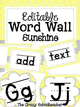 Editable Word Wall {SUNSHINE}