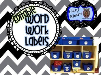 Editable Word Work Labels