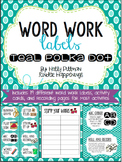 Editable Word Work Labels: Teal Polka Dot