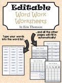Editable Word Work Worksheets
