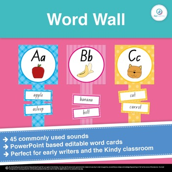 Editable Writing Word Wall with Commonly Used Digraphs and Sounds