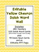 Dolch Word Wall - Yellow Chevron {Editable}