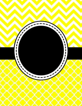 Editable Yellow Chevron and Quatrefoil Binder Cover and Sp