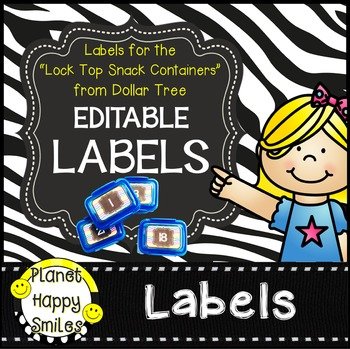 "Editable Zebra Labels ~ Labels for ""Lock Top Snack Contain"
