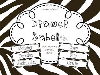 Editable Zebra Print Drawer Labels - File, Copy, Grade, Da