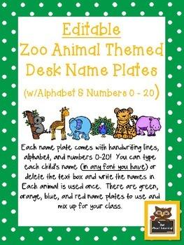Editable Zoo Animals Themed Name Desk Plates w/Alphabet an