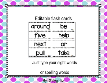 Editable flash cards template