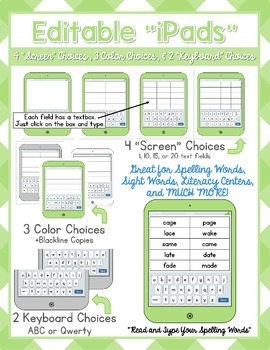 """Editable iPads - Add your own text! 24 """"iPad"""" styles to ch"""