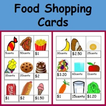 Editable money and food picture cards
