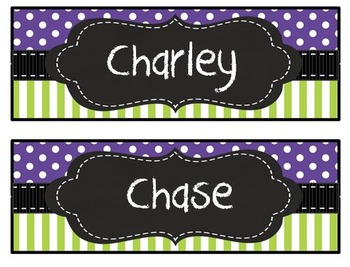 Purple and Lime chalkboard nametags, desk plates, numbers,