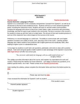 Editable syllabus for Spanish 3 class