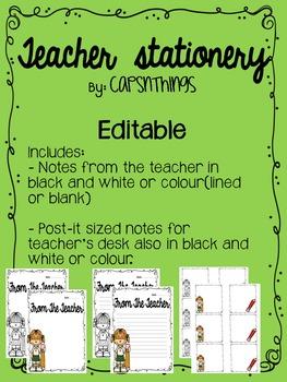 Editable teacher stationery