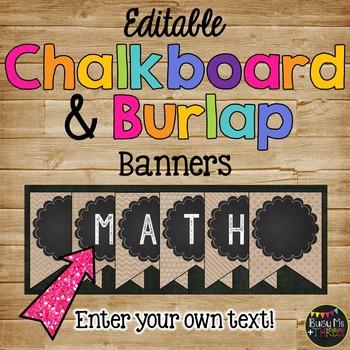 Editale Banner {Burlap & Chalkboard Theme}