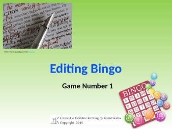 Editing Bingo Game 1