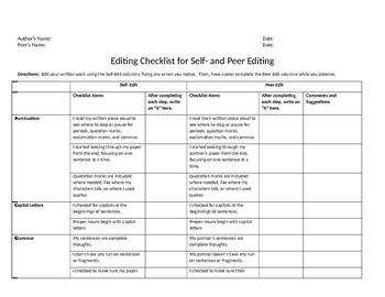 Editing Checklist (Peer Editing and Individual Editing)
