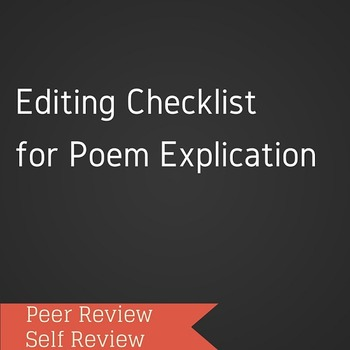 Editing Checklist for Poem Explication