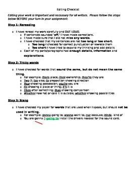 Editing Checklist for Students