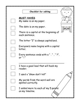 Editing Checklist for Writing