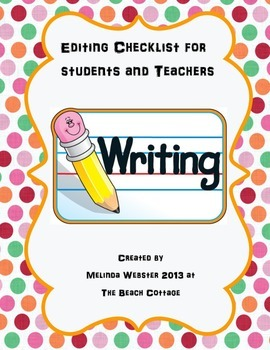 Editing Checklist for students and teachers-includes TIDE model