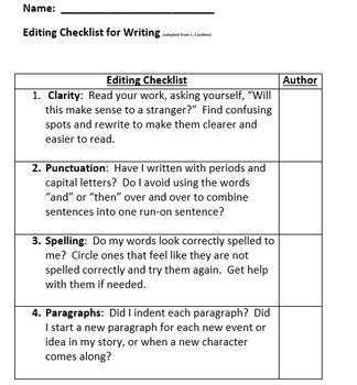 Editing Checklist (for writing)