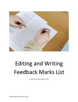 Editing and Writing Feedback Marks List