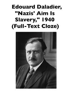 "Edouard Daldier's ""Nazis' Aim Is Slavery"" Speech (Full-Tex"