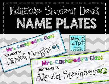 Edtable Student Name Plates