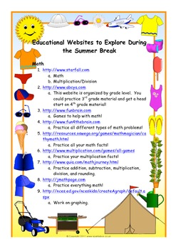 Educational Websites to Send Home for the Summer