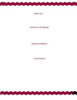 Educators Resume Template RED CHEVRON BORDER & POLKA DOT PAGES