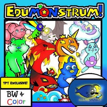 Edumonstrum ORIGINAL Anime Monster Clip-Art Set! 30 Pc./BW