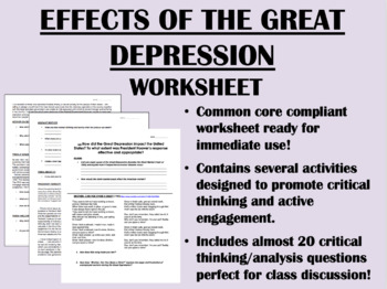 Effects of the Great Depression worksheet - US History Com