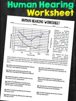 Efficiency of Human Hearing Worksheet