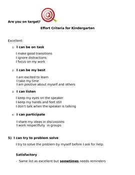 Effort criteria kinder to grade 3