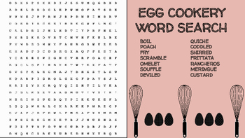 Egg Cookery Word Search; FACS, Culinary Arts, Bellringer, Eggs