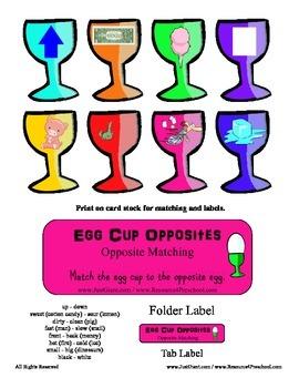 Egg Cup Opposites File Folder Reading Center - Opposite In