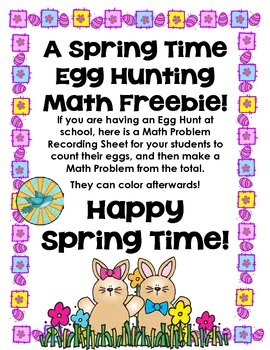 Egg Hunt Math Problem - Easter/Spring
