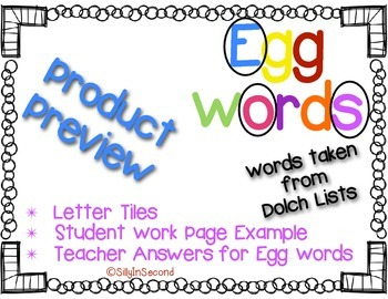 Egg Words Packet - Dolch 2nd Grade Words