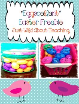"""'Eggscellent"""" Easter Word Work Center - Freebie"""