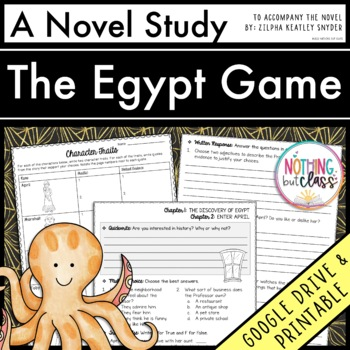 Egypt Game Novel Study Unit: comprehension, vocabulary, ac
