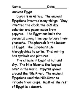 Egypt Reading Comprehension