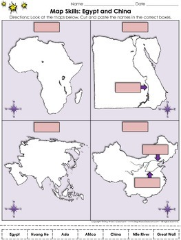 Egypt and China: Map Skills Cut and Paste Activity - Huang