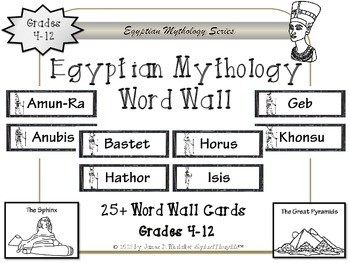 Egyptian Mythology Gods and Goddesses Word Wall