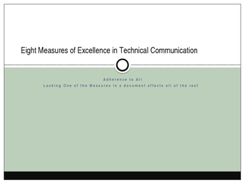 Eight Measures of Excellence as Listed in Markel's Technic