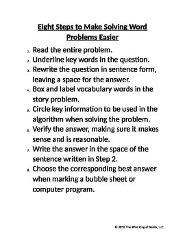 Eight Steps to Make Solving Word Problems Easier