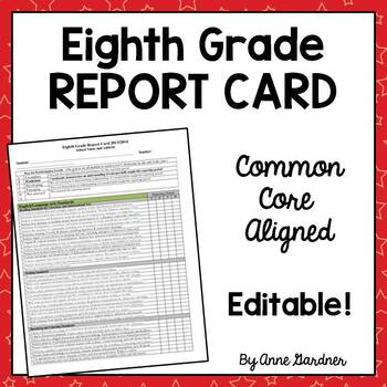 Eighth Grade Common Core Report Card, Fully Editable