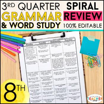 8th Grade Language Homework or Spiral Review Warm Ups & Be