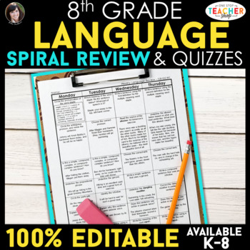 8th Grade Language Homework or Spiral Review Warm Ups & Be