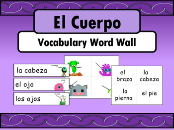 El Cuerpo - The Body Vocabulary in Spanish Word Wall